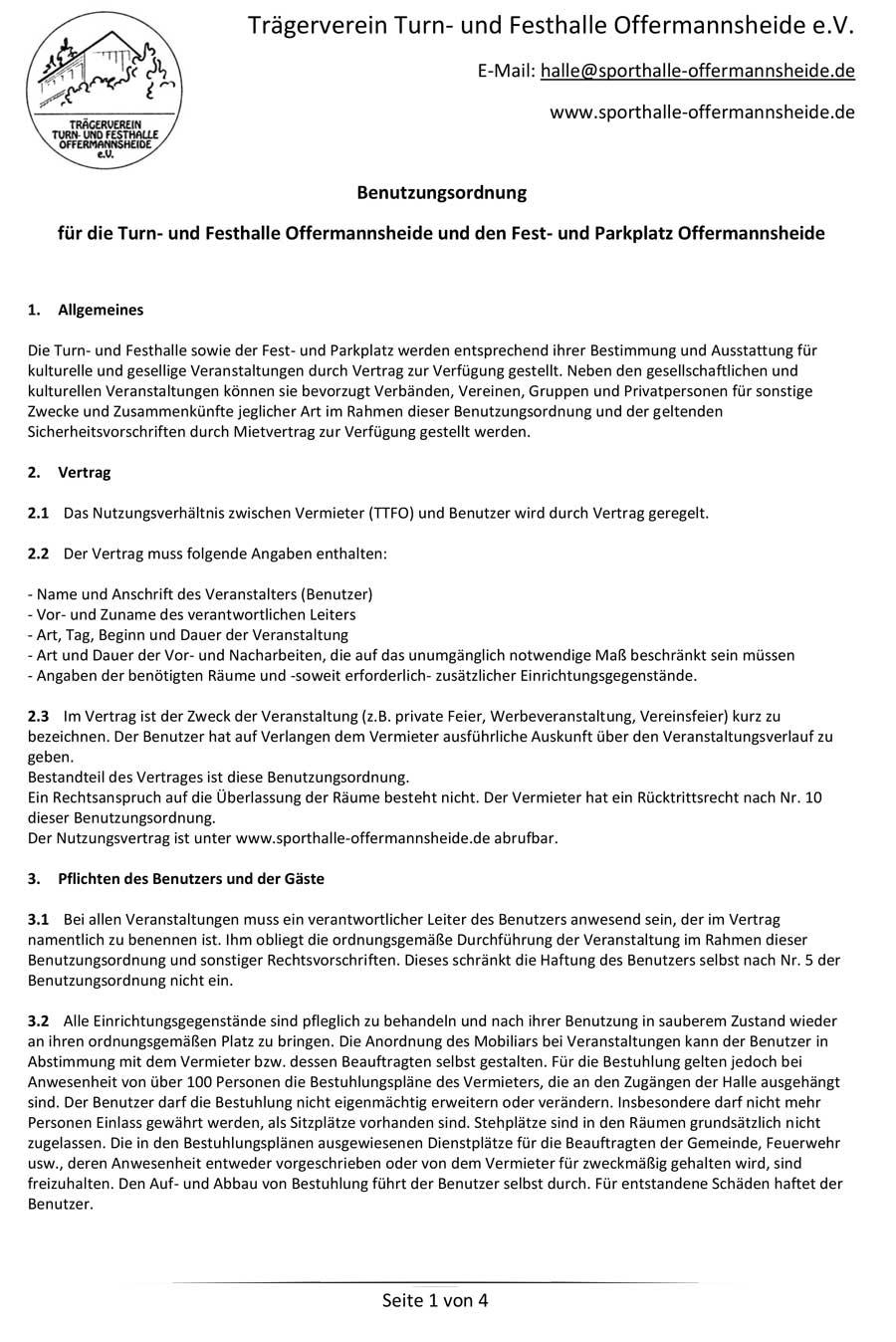 Benutzerordnung der Sporthalle Offermannsheide Kürten mit Link zur PDF-Datei