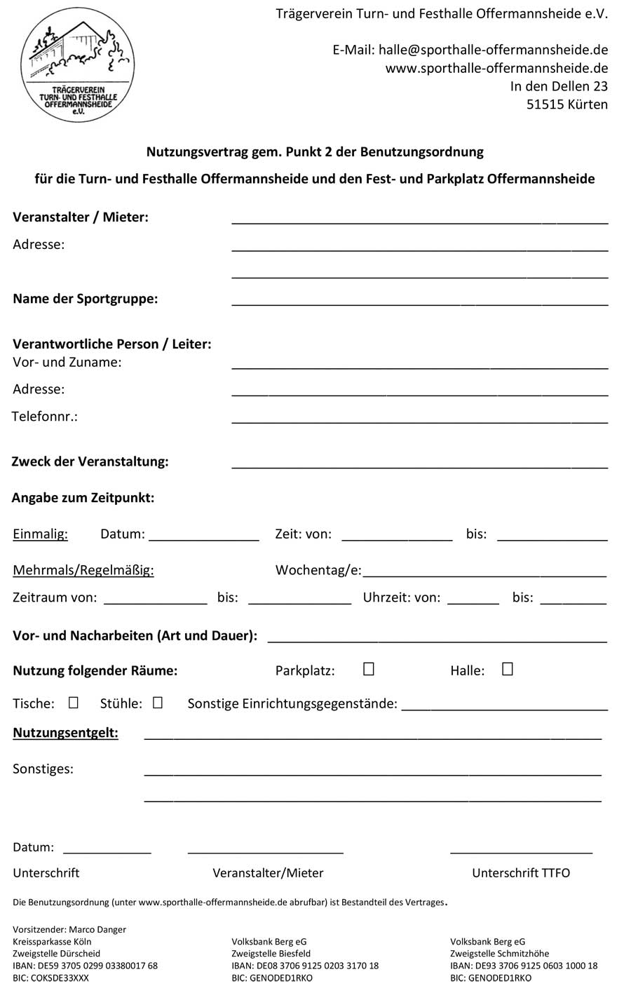 Mietvertrag der Sporthalle Offermannsheide Download PDF-Datei